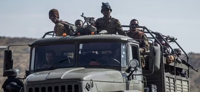 Ethiopian soldiers in a truck in the Tigray region