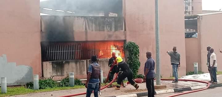 Firemen battling fire at the Federal Secretariat
