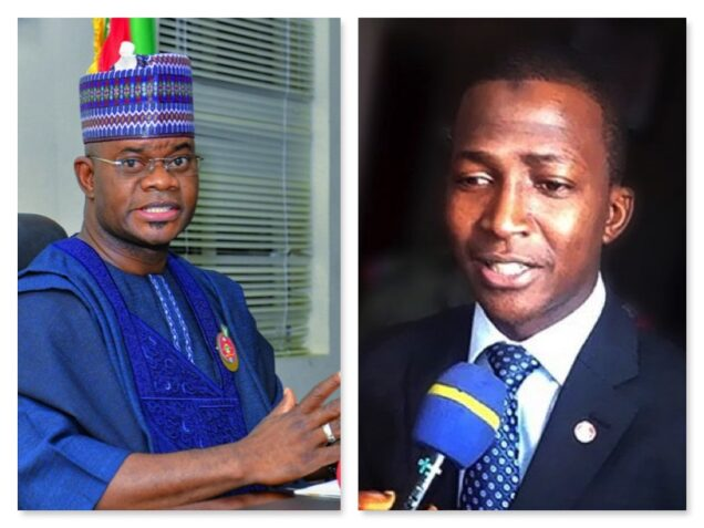 Kogi governor Yahaya Bello and EFCC chairman Abdulrasheed Bawa