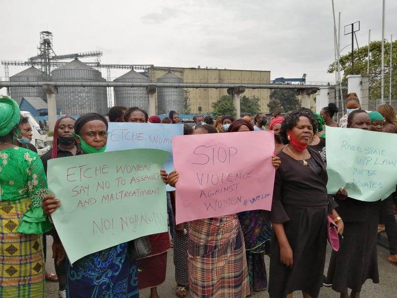 Protesters against assault on Mrs Cynthia Nwala,the female Councillor and Leader of Etche LGA legislative Assembly in Rivers on Wednesday