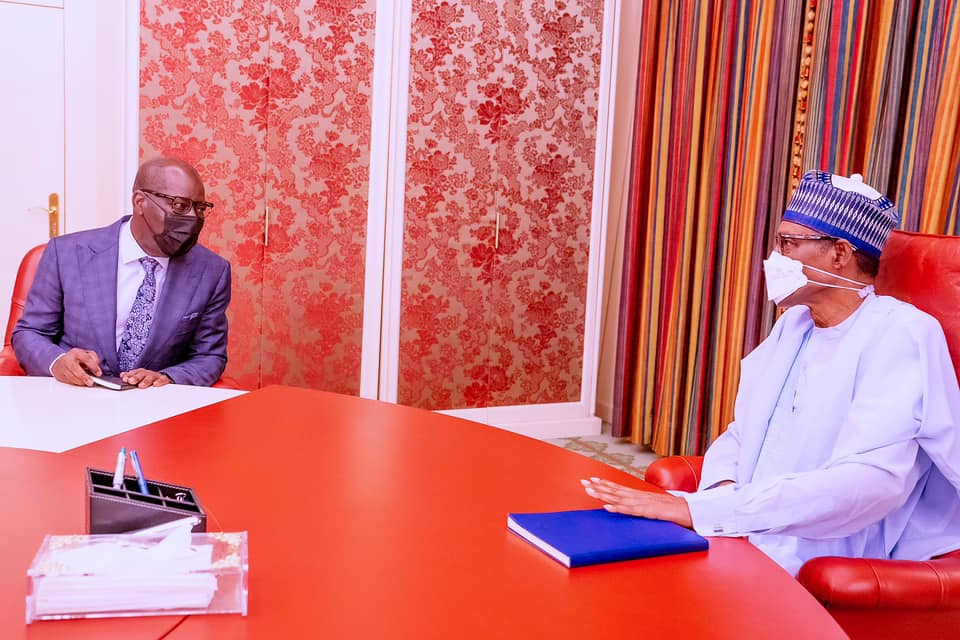 The president with Obaseki