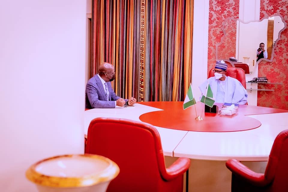 Buhari with Obasanjo in Abuja