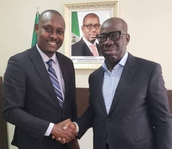 Obaseki (right) with Andrew Emwanta
