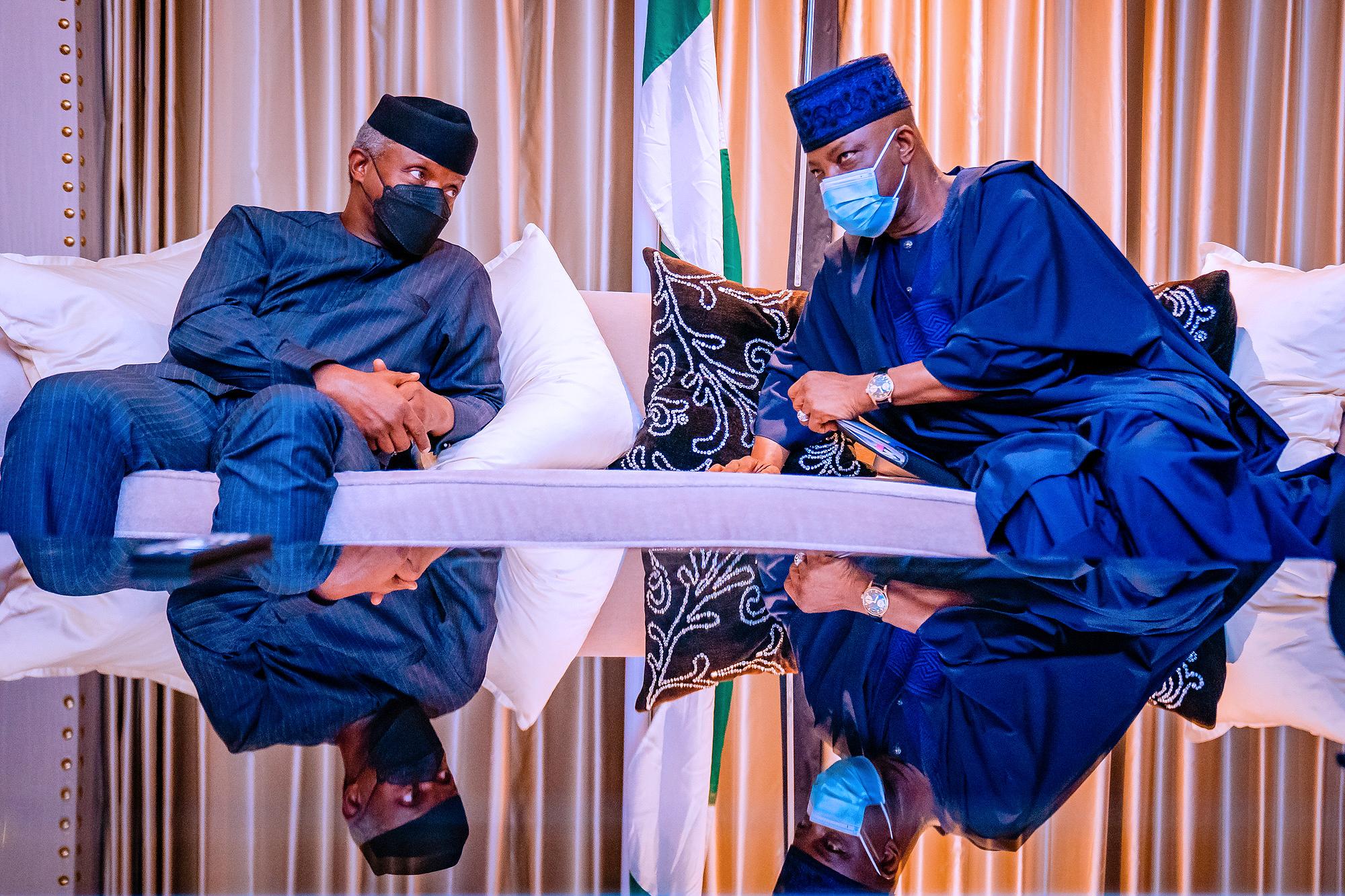 Vice President Yemi Osinbajo SAN receives briefing from Nigeria High Commissioner to the UK Ambassador Sarafa Tunji Ishola