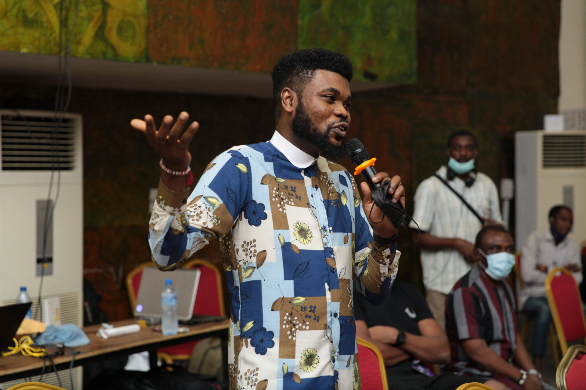 Comedian, Omobaba during the QnA session.
