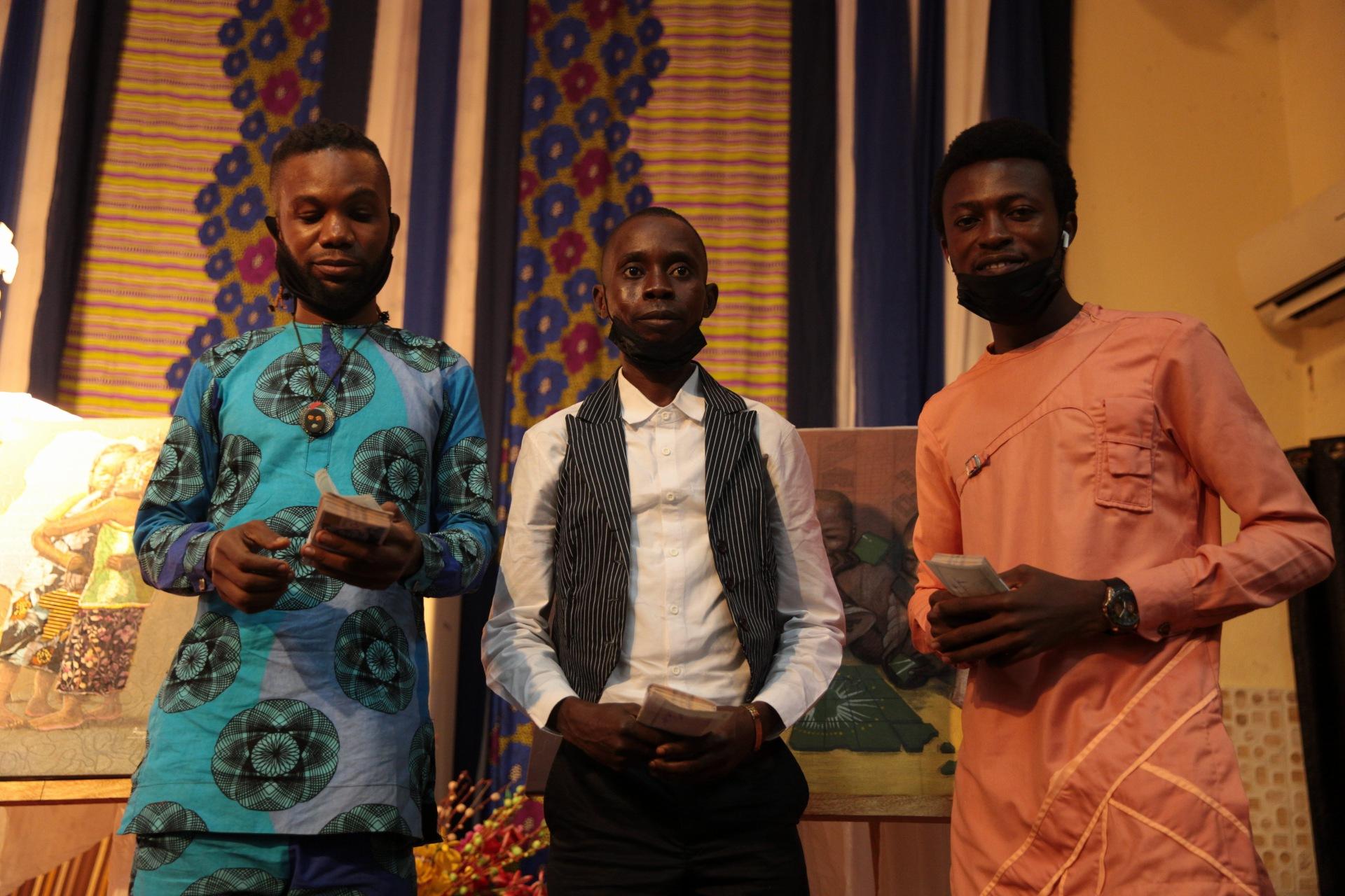 Winners of this year's Felabration artwork competition L-R: Amioleman Emmanuel, Amuta Isitoruka and Eweje Emmanuel.