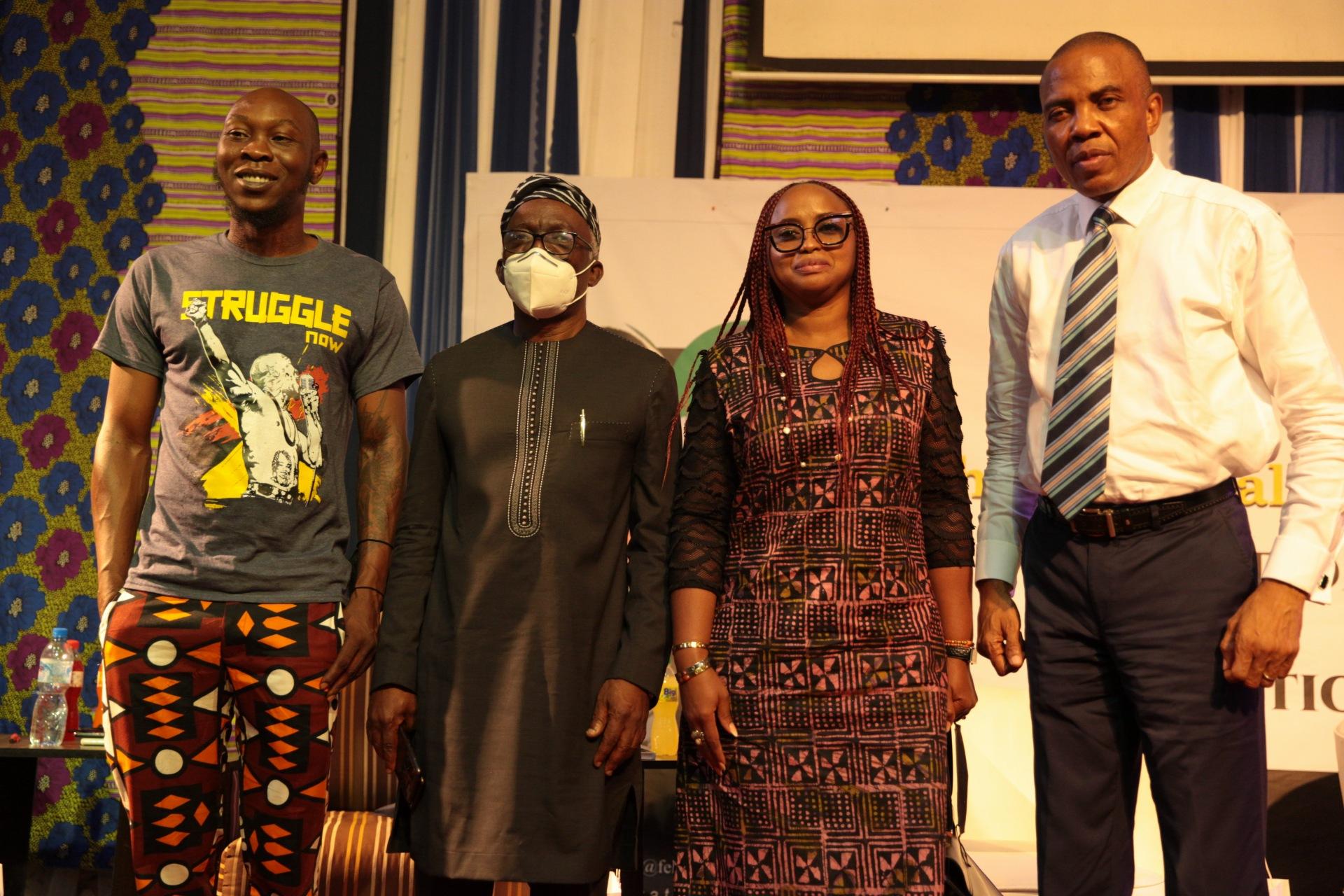 A group photograph of the panlists: L-R The moderator of the debate, Mr Femi Falana SAN and other panelists: Seun Anikulapo Kuti, Arinola Oloko and Mr Tony Nnadi
