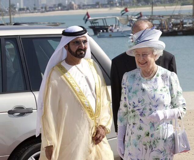 Sheikh Maktoum and Queen Elizabeth many years back in Dubai