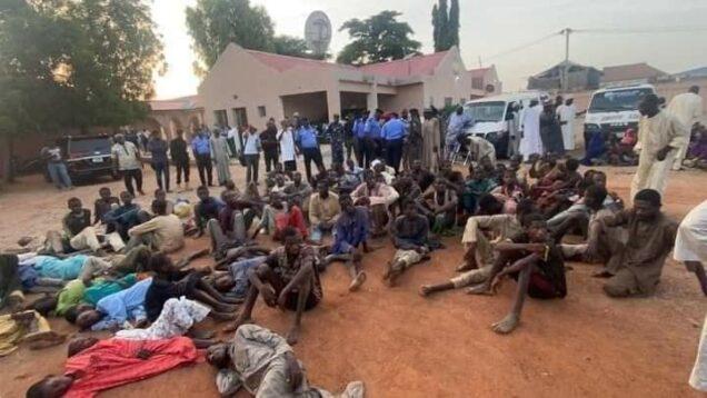 Some of the 187 victims rescued by the police