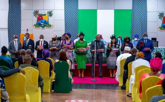 The new Lagos  permsecs taking the oath of office