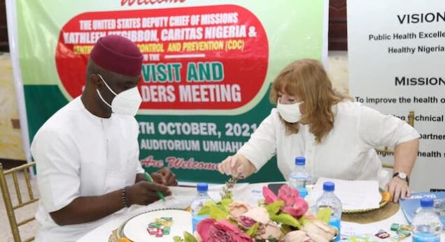 U.S. Mission Chargé d'affaires Kathleen FitzGibbon with Abia deputy governor
