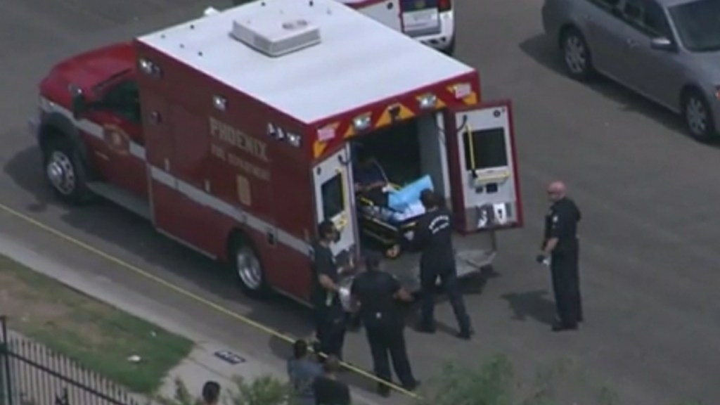 An ambulance that came for Esther Callejas, kids